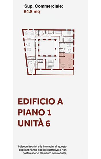 Unità immobiliare, uso ufficio, posta al primo piano lato sud-est dell'edificio A
