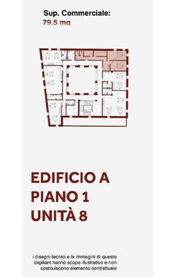 Unità immobiliare, uso ufficio, posta al primo piano lato nord-est dell'edificio A