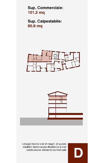 Appartamento di civile abitazione posto al secondo piano dell'edificio D