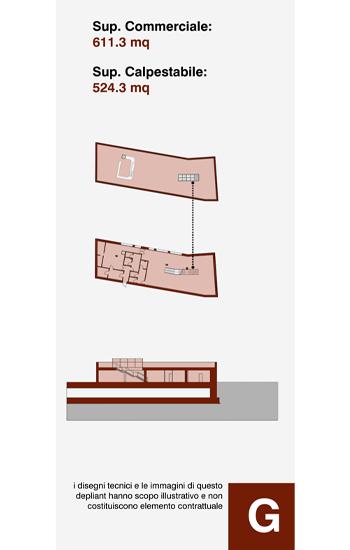 Edificio ad uso ristorante, posto a sud-ovest del compendio immobiliare, sviluppato a livello -1